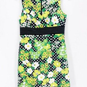 DBY Ltd. Womens Shift Dress Green Black Floral 10